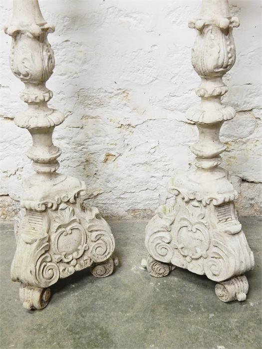 Lot 106 - Pair of extra large resin candle pricket stands.