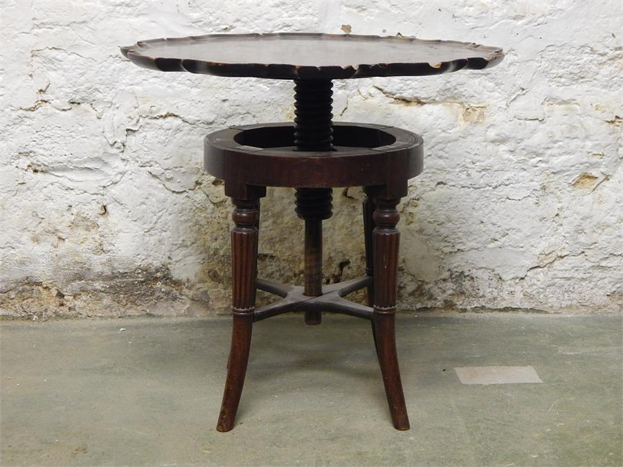 Lot 75 - A Piano Stool base with pie-crust tray top table conversion, appears to be a solid top, moulding not