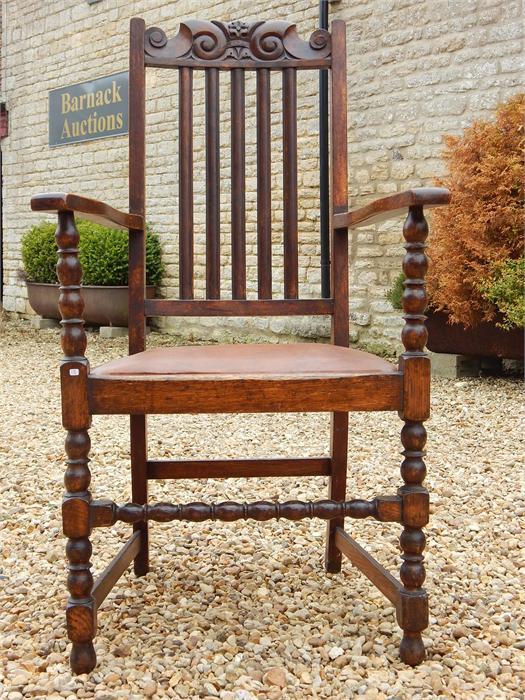 Lot 87 - Oak hall chair