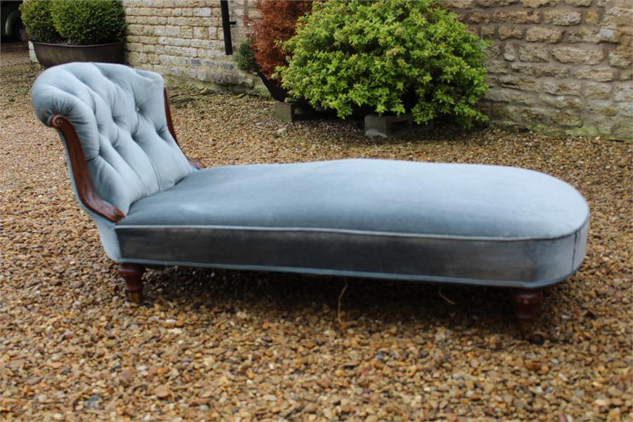 Lot 90 - A 19th Century Chaise Longue showframe Daybed, Turned legs with Brass Castors Stamped Cope &