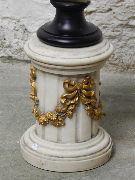 Lot 11 - Classical figure on pedestal column - Damage and loss to hair - hole in head - modern, dimensions