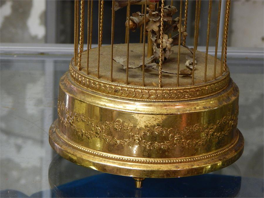 Lot 50 - Wind-up brass musical birdcage - Reuge Music 4824 Sante-Croix - Made in Switzerland