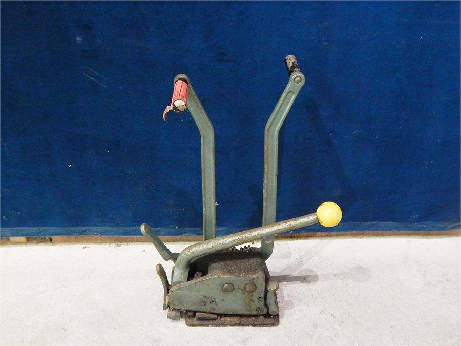 Lot 38 - A Heavy Green Cast Metal three handled cutting tool