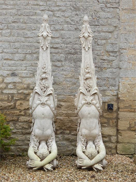 Lot 5 - Pair of resin corner stones or corbels in the form of a classical woman. In Situ picture added. 2.