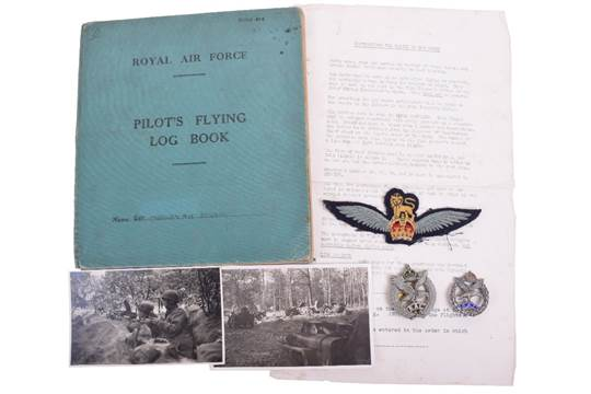 WW2 Glider Pilots Insignia, Badge & Flying Log Book Grouping of