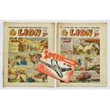 Lion (1952) 1, 2 with free gift Speed Marvels of 1952 booklet. Introducing Captain Condor by Frank S