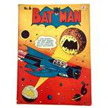 Batman 6 (1950 K.G. Murray Oz reprint). Bright cover, light tan pages, 2 ins lower spine split,