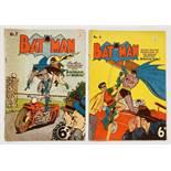 Batman 7, 8 (1951 K.G. Murray Oz reprints). No 7 cover foxing, weak spine [gd], No 8 has a 4 ins