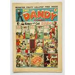 Dandy 53 (1938) 1st 'snow capped' Xmas issue with pg. 13 ad for first Dandy Monster Comic. Bright