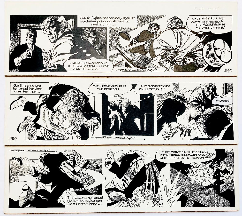Garth: The Doomsmen. 3 original consecutive artworks (1976) drawn and signed by Frank Bellamy for