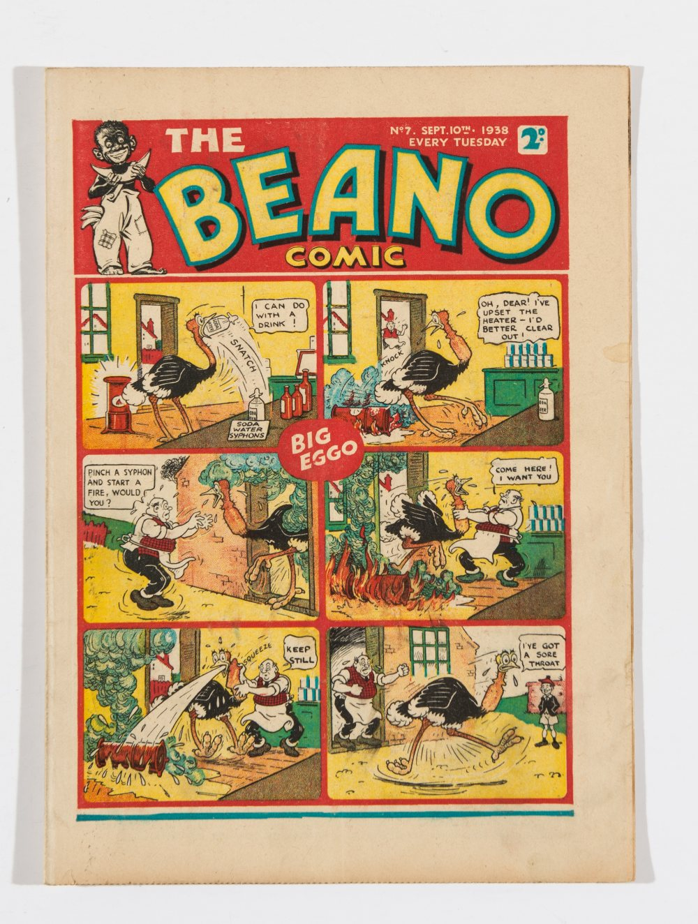 Lot 38 - Beano No 7 (1938). Bright, fresh covers, cream pages. Only a handful of copies known to exist [