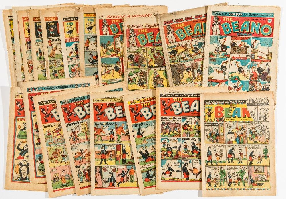 Lot 55 - Beano (1946): 279, 287, 289, 296, (1951): 449, (1954): 604, 635, 636, (1955): 650, 676, 688, 690, (