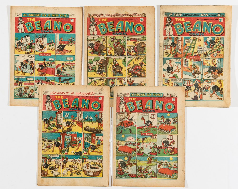 Lot 56 - Beano (1946) 280, 289, 292, 293, 296. 280 extensive clear taping to spine, cover edge and tears [