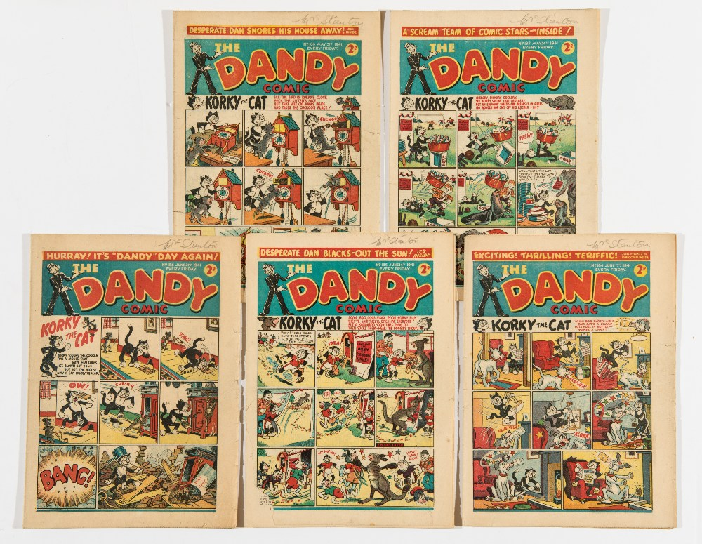 Lot 18 - Dandy (1940) 182-186. 185: Front and back cover lower edge piece torn away by spine [gd], balance [