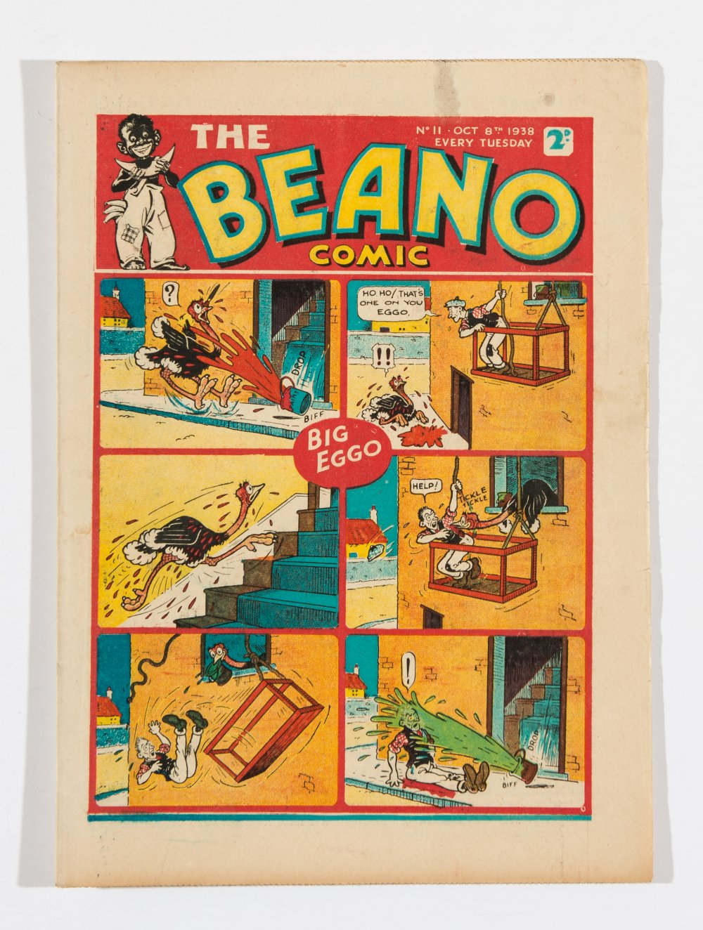 Lot 42 - Beano No 11 (1938). Bright, fresh covers, cream pages, 1 ins discolouration mark to top cover