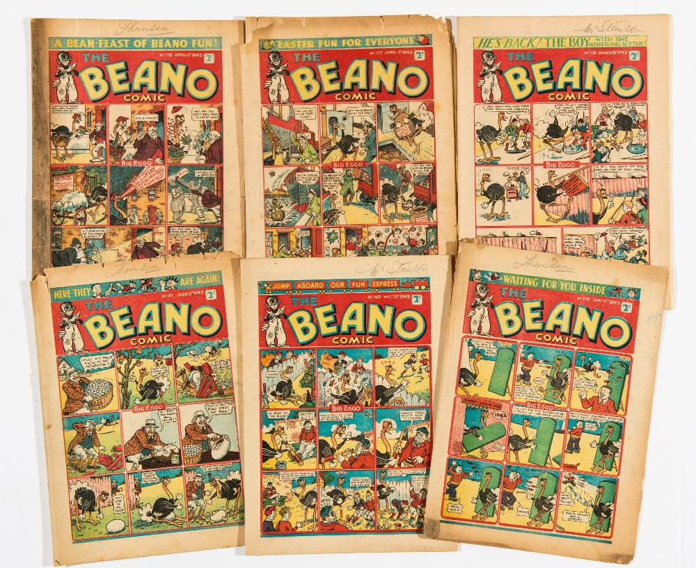 Lot 49 - Beano (1942) 176-181. Propaganda war issues. Pansy Potter in Russia pushing German tanks off a
