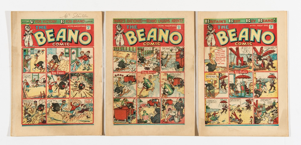 "Lot 48 - Beano (1942) 173, 174, 175. Propaganda war issues. 173 Swastika Nazi spy cover. ""Don't make paper"