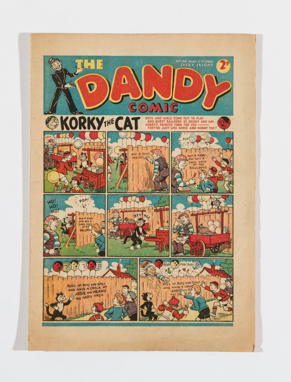 Lot 13 - Dandy 128 (May 11 1940). Propaganda war issue with Addie and Hermy Nasty Nazis front cover and pg 18