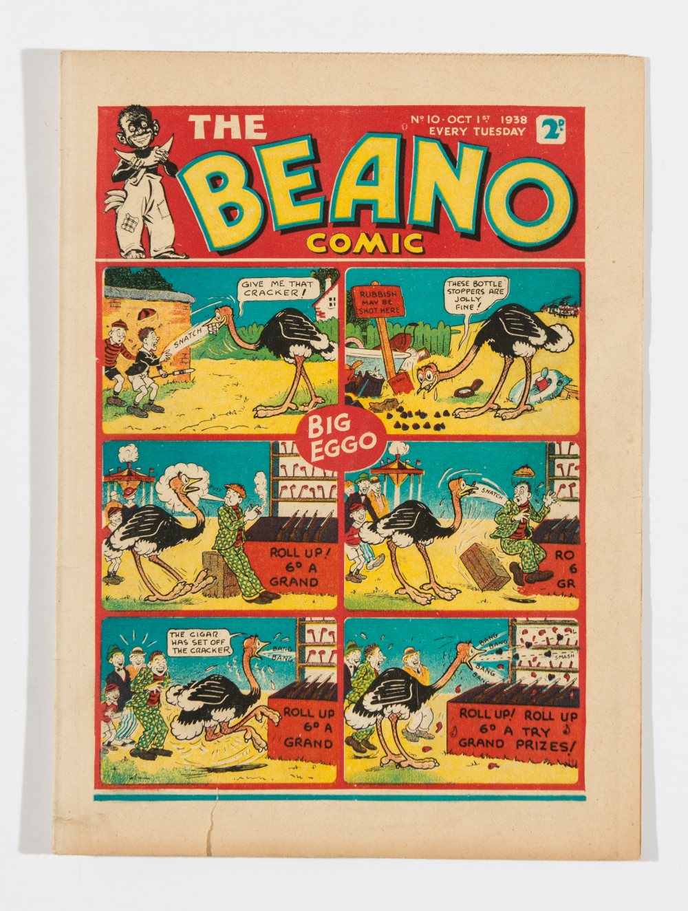 Lot 41 - Beano No 10 (1938). Bright, fresh covers, cream pages. 1 ins tear to lower cover margin, two ½ ins