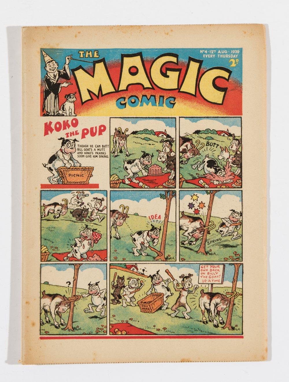 Lot 36 - Magic Comic No 4 (1939). Bright, fresh covers, cream pages, a few light foxing spots [fn]
