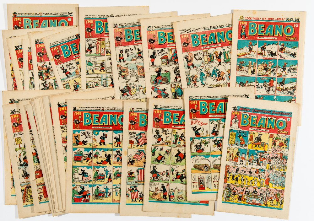 Lot 59 - Beano (1948) 326-351 complete year. 326 last Big Eggo cover, 327 first Biffo The Bear cover. 1st