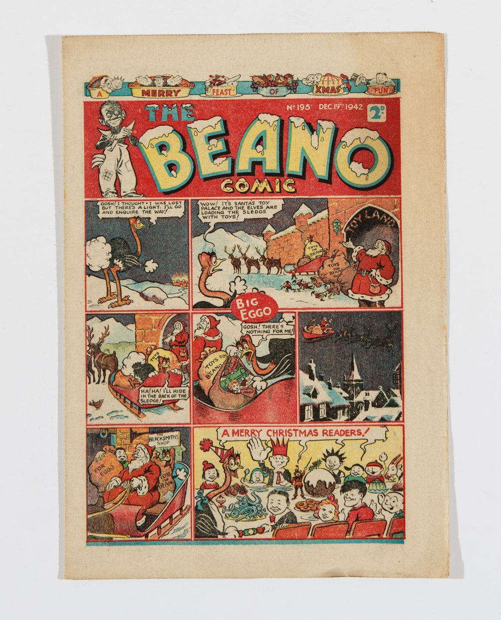 Lot 53 - Beano 195 Xmas number (1942). Propaganda war issue. 'Jerry won't be merry this Xmas if you do your