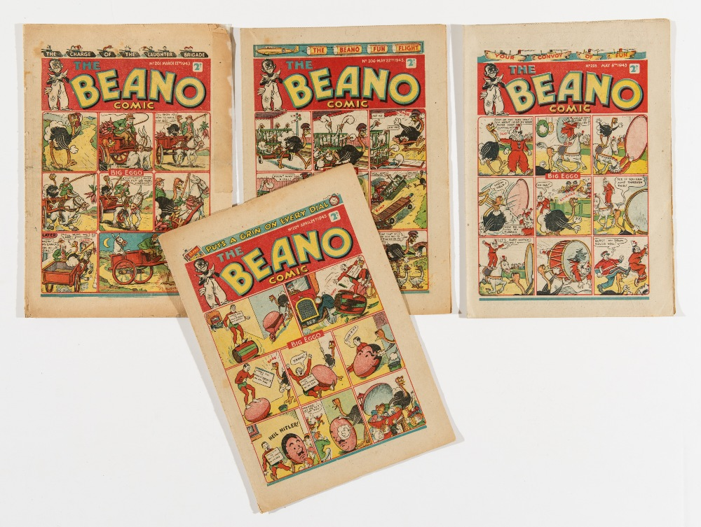 Lot 54 - Beano (1943) 201, 204, 205, 206. Propaganda war issues with 204 Heil Hitler traitor cover. 201 clear