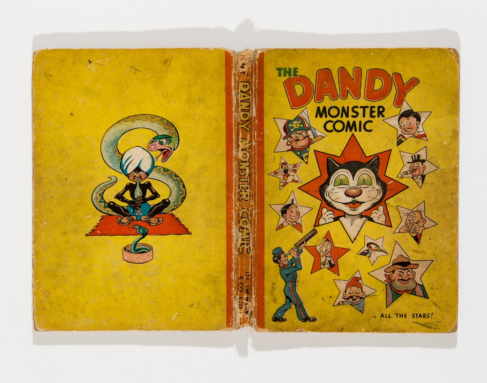 Lot 28 - Dandy Monster Comic (1946). Korky and Dandy stars. Faded boards with worn hinges and loose spine,