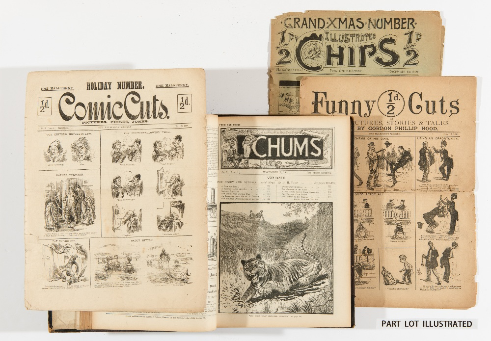 Lot 1 - Comic Cuts (1890-1893) 1-99, 109-156. With Chums (1892-93) 1-50 in bound volume (No 8 cover has