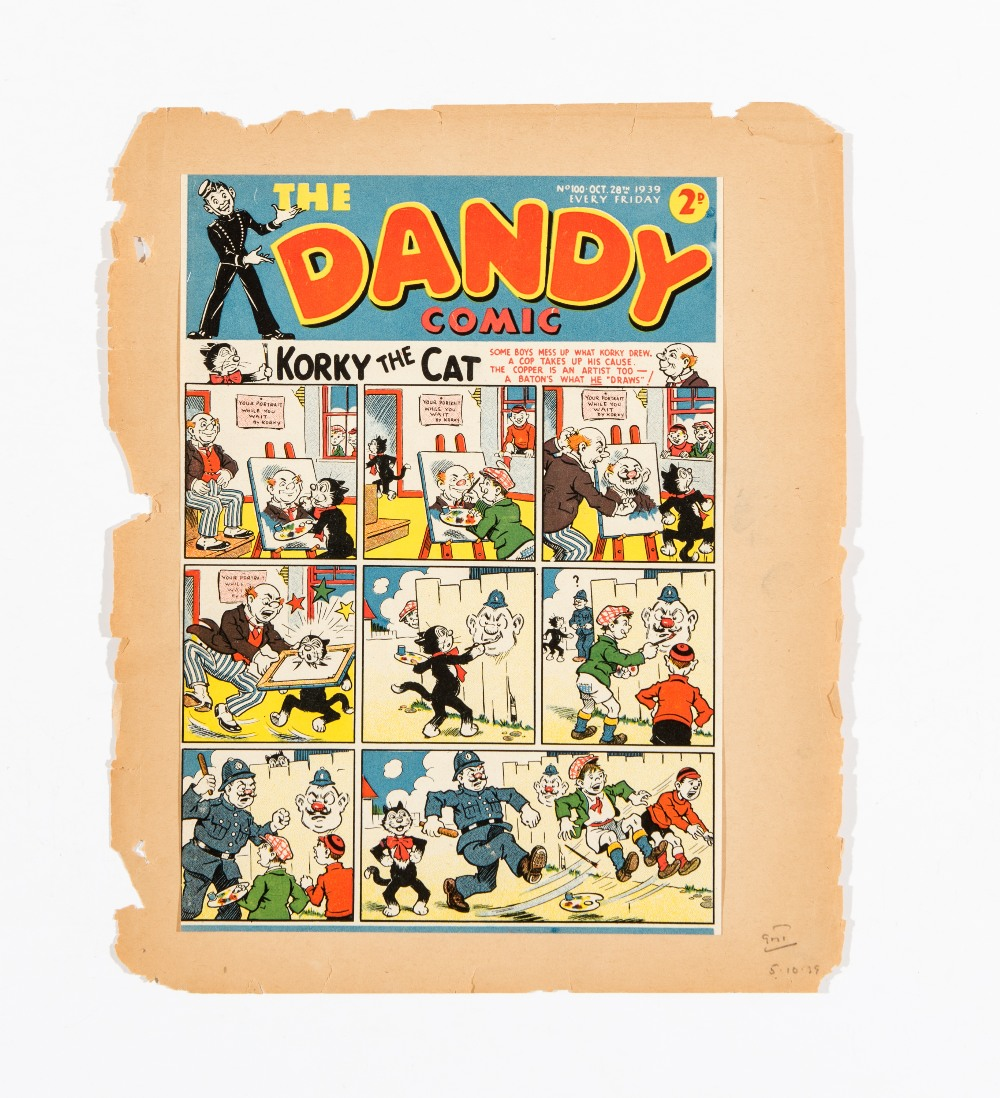 Lot 11 - Dandy 100 (1939). Front cover printer's proof signed off by sub-editor for production [vfn]
