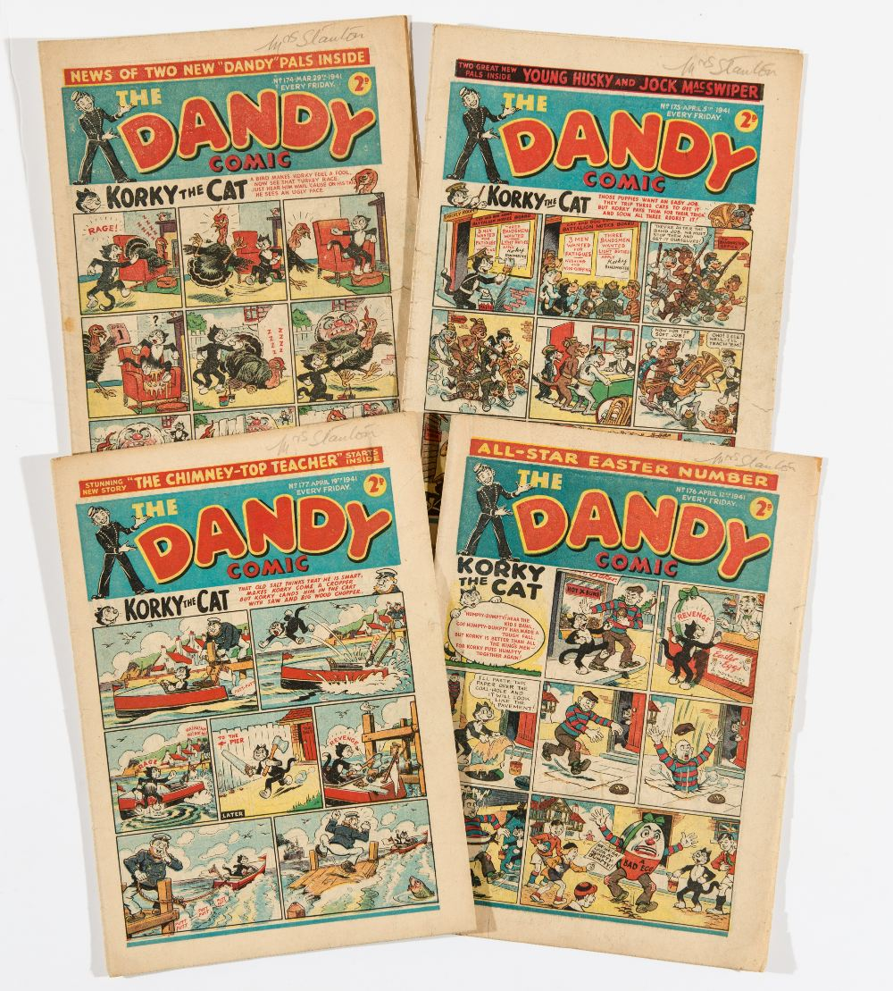 Lot 16 - Dandy (1940) 174-177 including April Fool and Easter numbers. Propaganda war issues. Hair-Oil Hal
