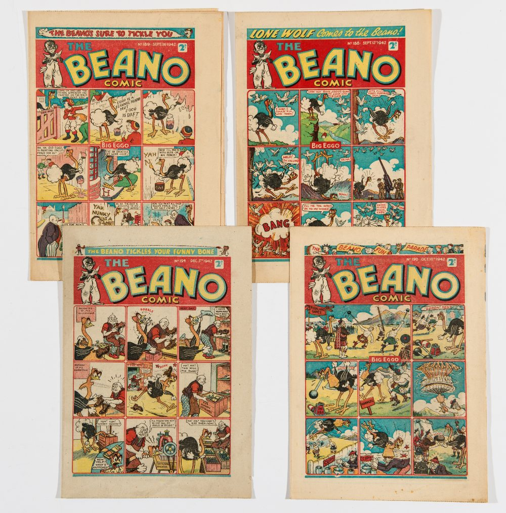 Lot 52 - Beano (1942) 188, 189, 190, 194. Propaganda war issues. Introducing Lone Wolf by Dudley Watkins.