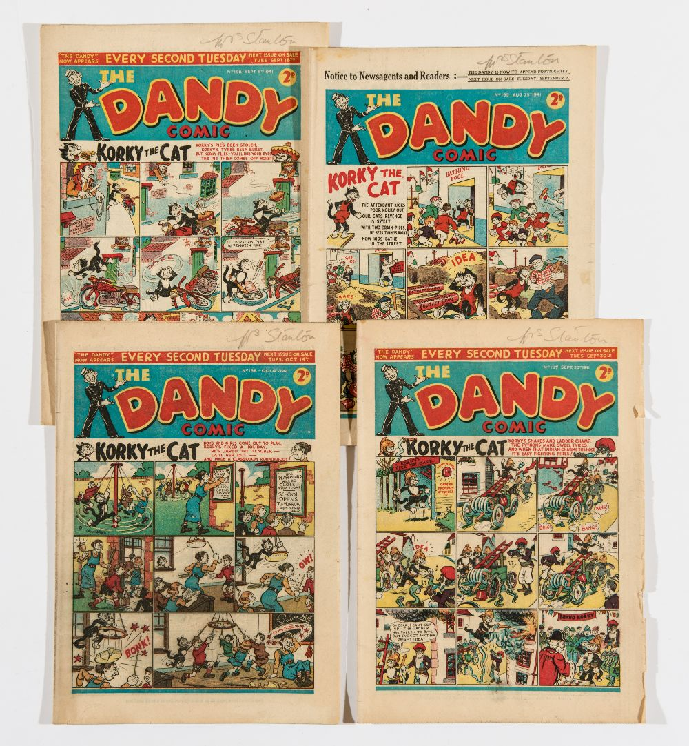 Lot 21 - Dandy (1941) 195-198. Bright covers, cream/light tan pages. 197 some corner pieces torn away [gd],
