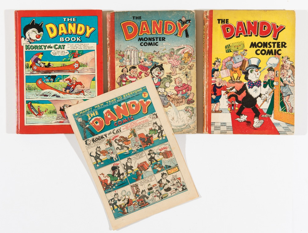 Lot 31 - Dandy 335 New Year (1947) [vg+]. With Dandy Monster Comic 1949, 1950 and 1959. Annuals [vg/gd/