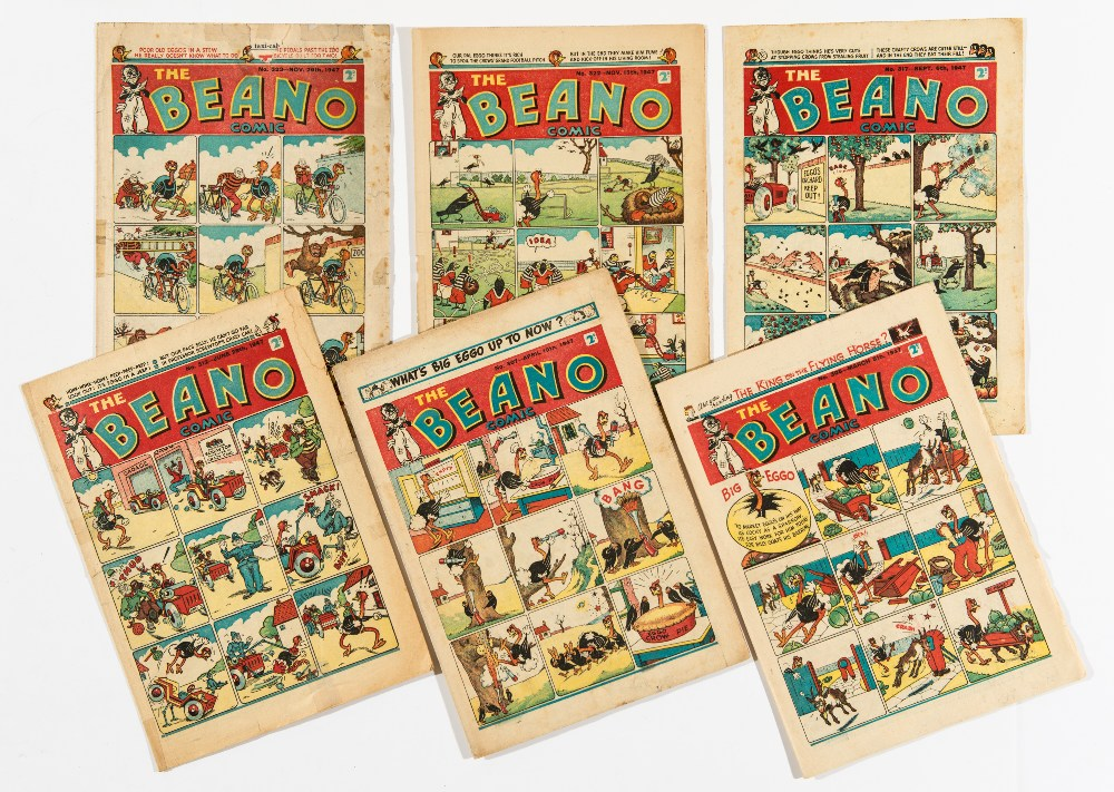 Lot 58 - Beano (1947) 305, 307, 312, 317, 322, 323. 323 [fr], 312, 322 some tape to spine and edges [gd],