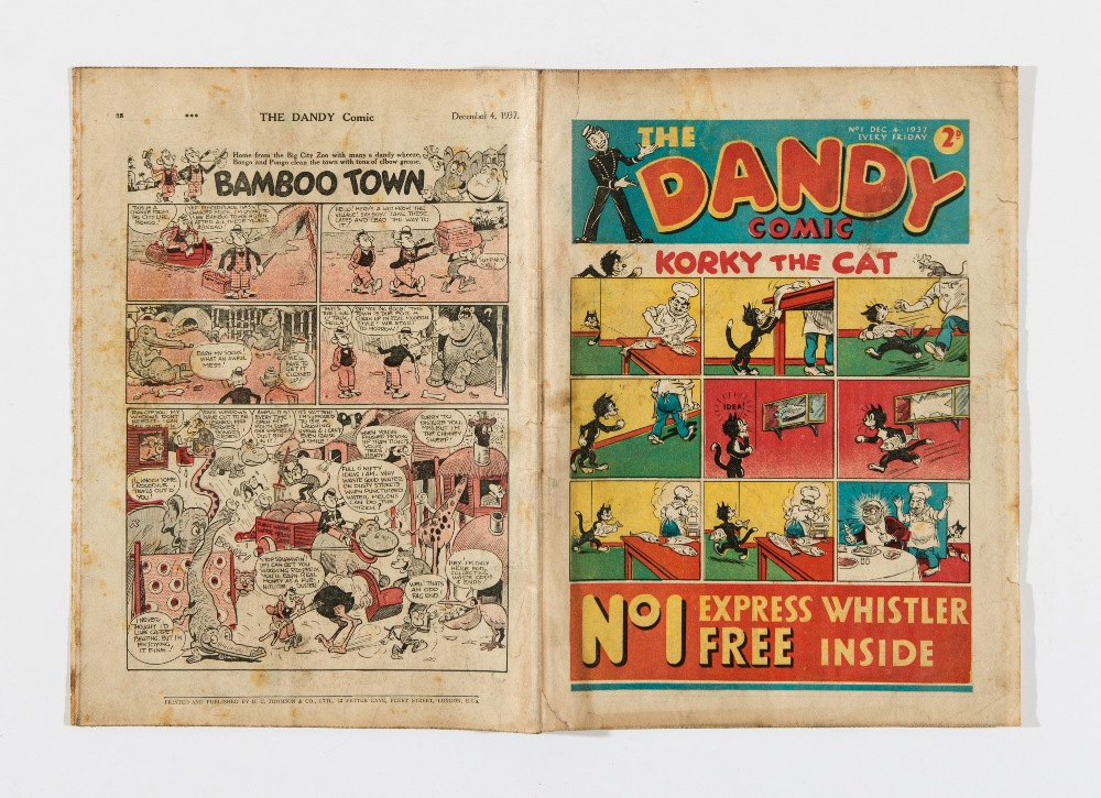 Lot 8 - Dandy Comic No 1 (1937) Korky, Desperate Dan, Keyhole Kate and Freddy The Fearless Fly start their