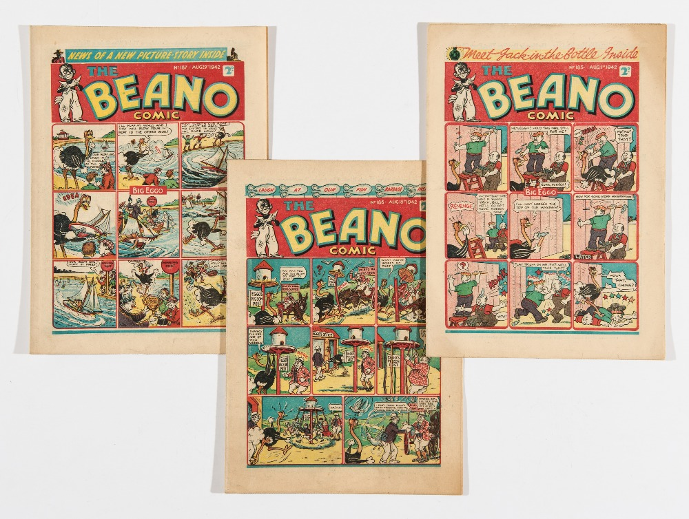 Lot 51 - Beano (1942) 185, 186, 187. Propaganda war issues. Snitchy and Snatchy read 'Mein Kampf' and start