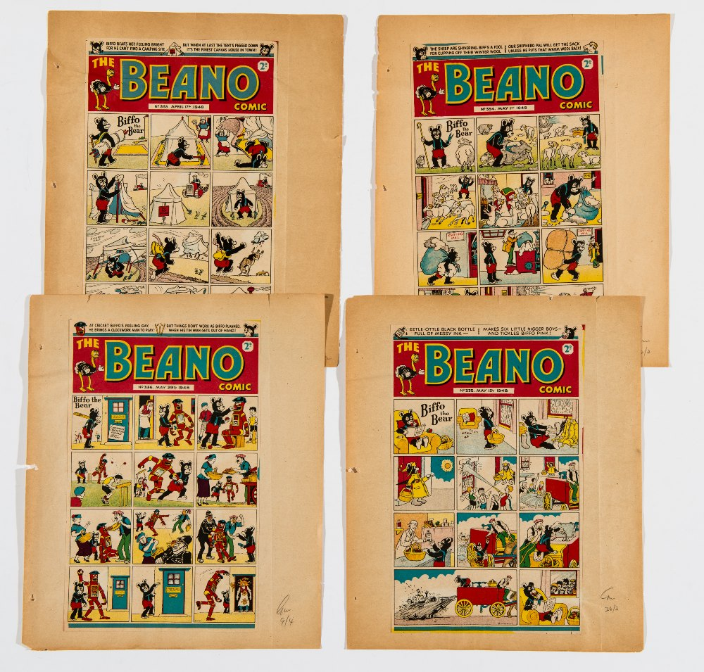 Lot 60 - Beano 333-336 (1948).  Four consecutive front cover printer's proofs, each signed off for