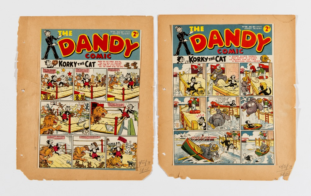 Lot 10 - Dandy 90 and 91 (1939). Front cover printer's proofs signed off by Dandy editor, Albert Barnes. Some