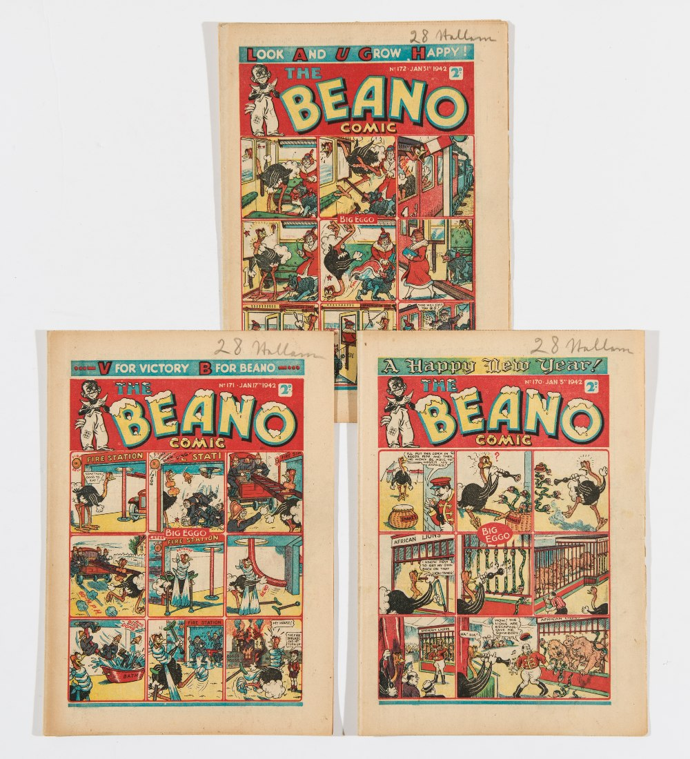 "Lot 47 - Beano (1942) 170 New Year, 171, 172. Propaganda war issues. ""Waste Littler - Paste Hitler!""."