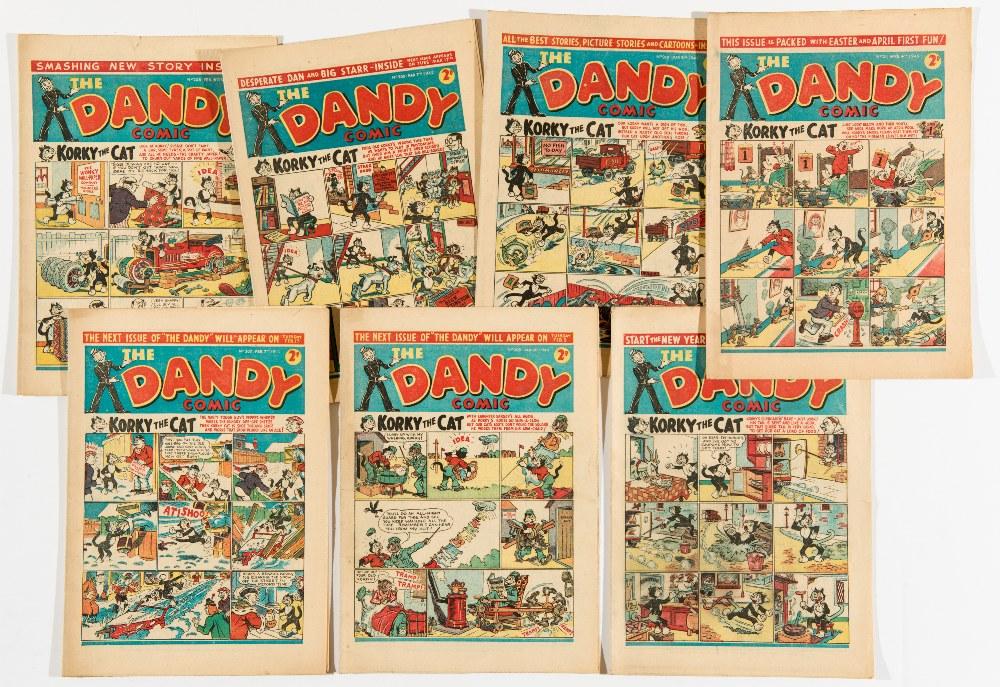 Lot 24 - Dandy (1942) 205-211 Jan 10 - April 4. Propaganda war issues. First Peter Pye by Dudley Watkins.