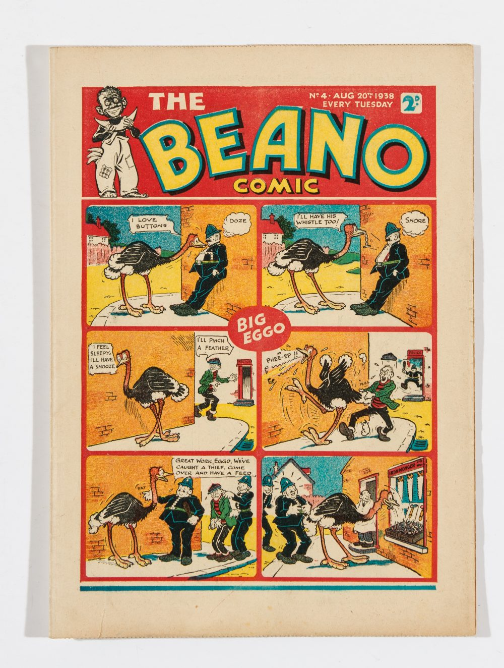 Lot 37 - Beano No 4 (1938). Big Eggo, Lord Snooty and his Pals, Morgyn The Mighty star. Bright, fresh covers,