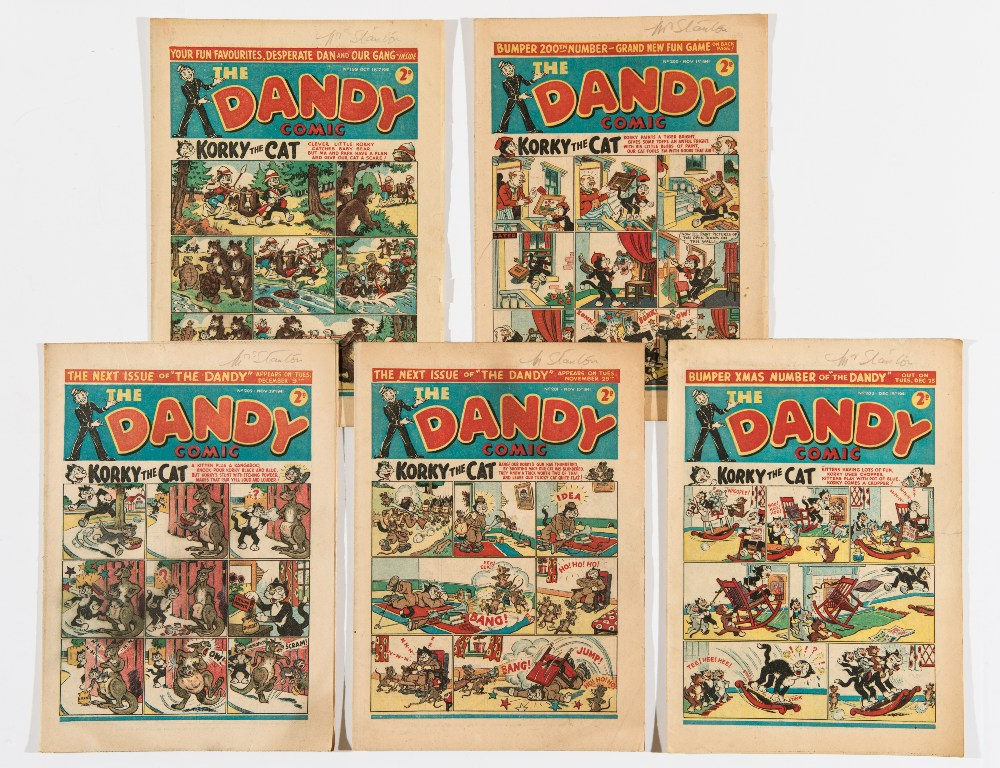 Lot 22 - Dandy (1941) 199-203. Propaganda war issues. Bright covers, cream/light tan pages [vg+/fn] (5)