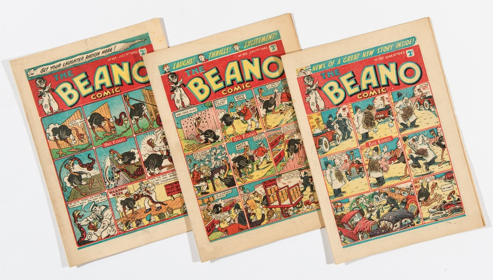 Lot 50 - Beano (1942) 182, 183, 184. Propaganda war issues. Hitler gets ill when Lord Snooty spreads laughing