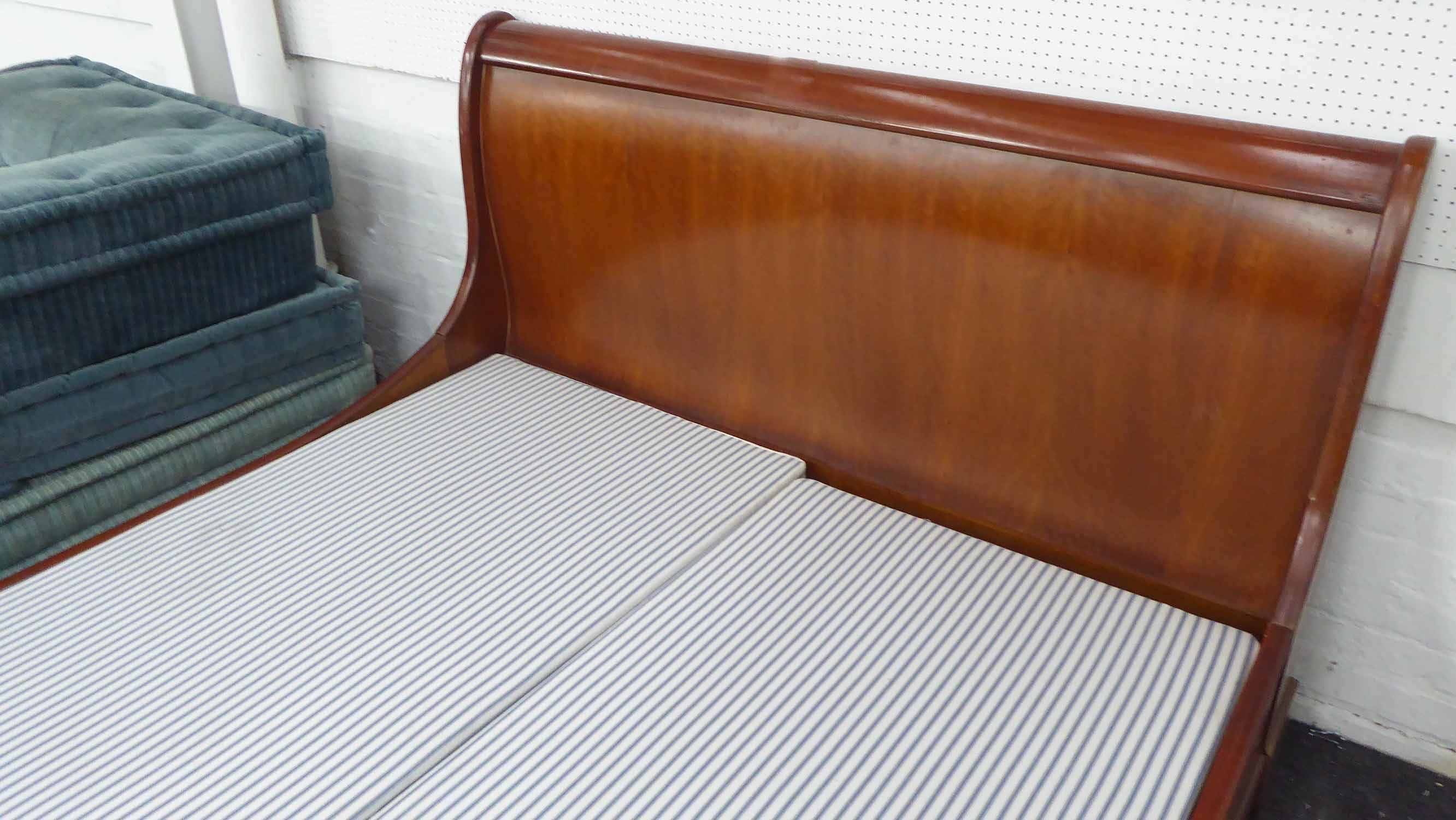 Lot 36 - SLEIGH BED FRAME, mahogany, 162cm x 102cm H.