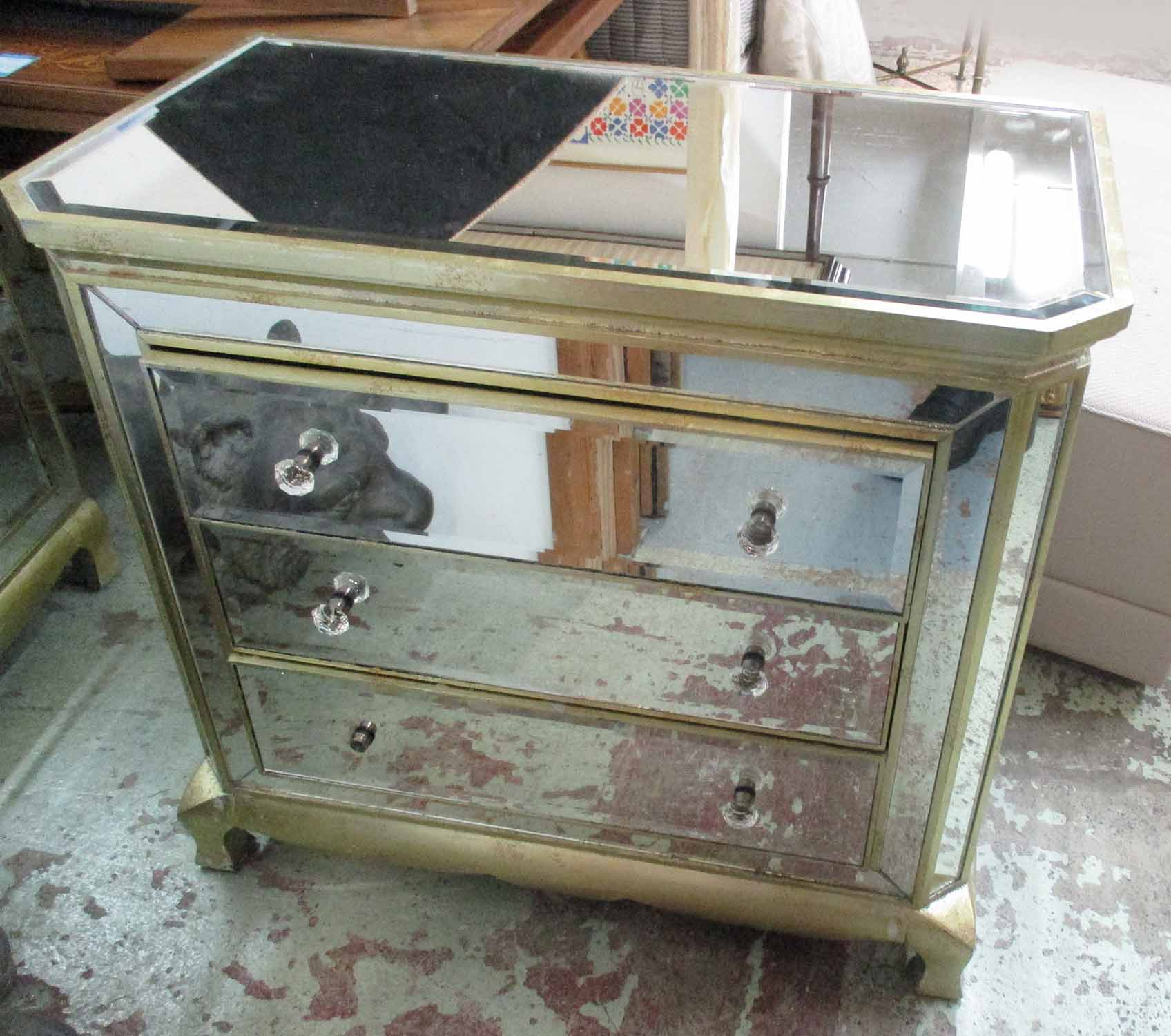 Lot 24 - CHEST OF DRAWERS, French 1950s inspired mirrored finish, 92cm x 51cm x 82cm H.