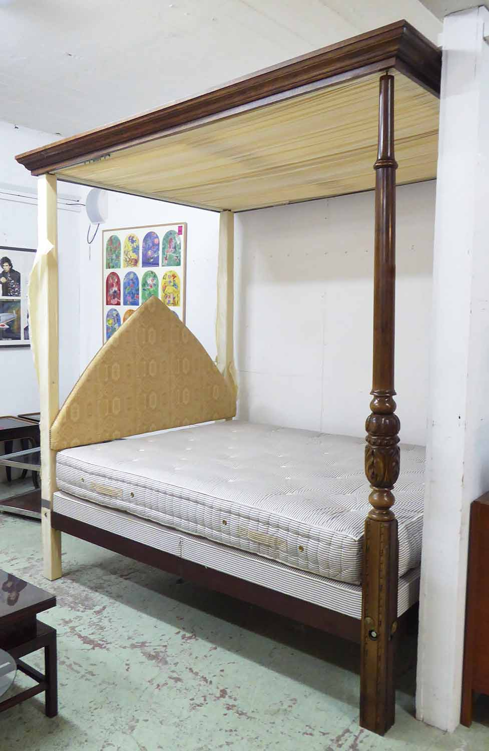 Lot 11 - FOUR POSTER BED, Tudor style, oak having carved baluster supports,