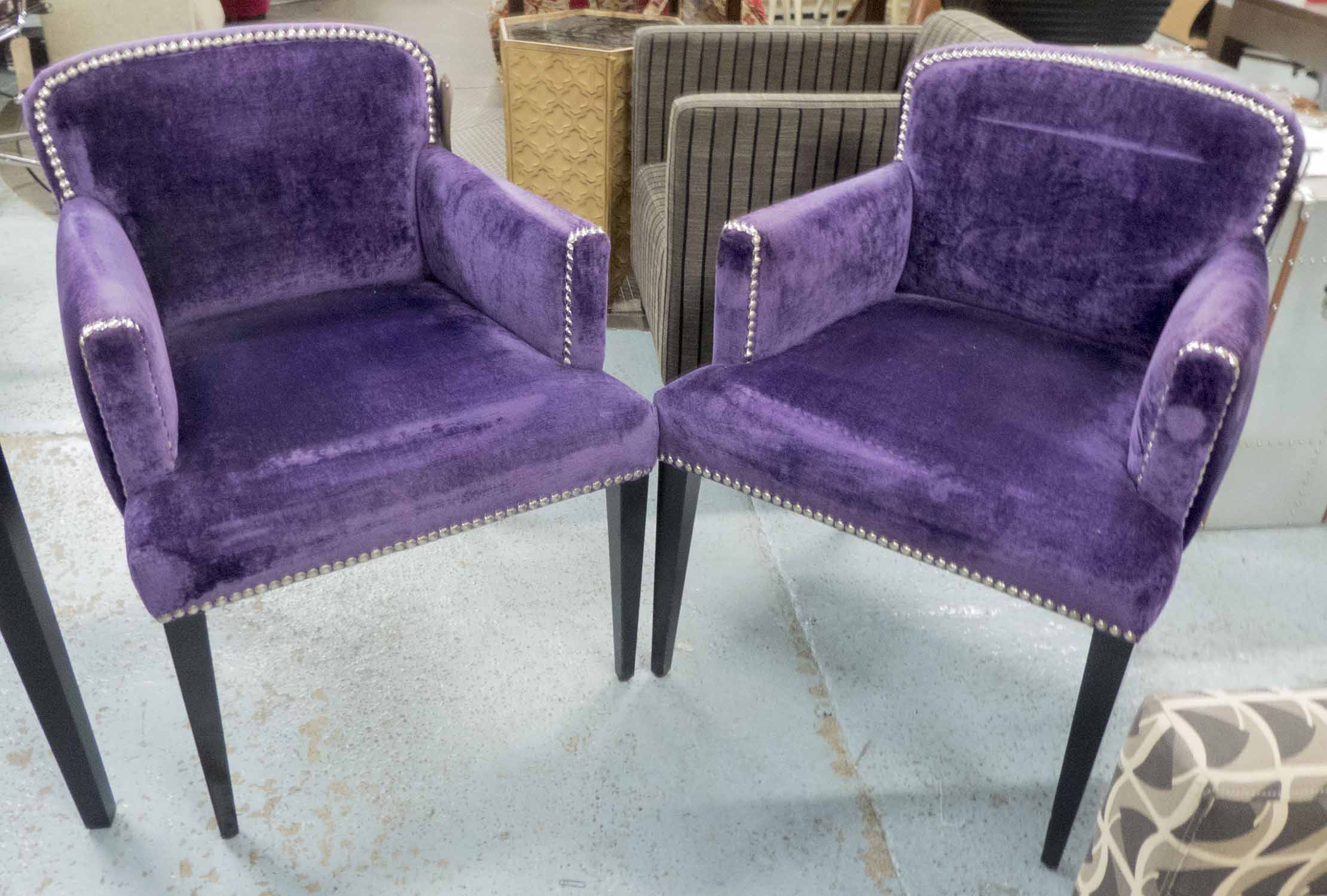 Lot 43 - DINING CHAIRS, a set of four, with rounded backs in purple upholstery,