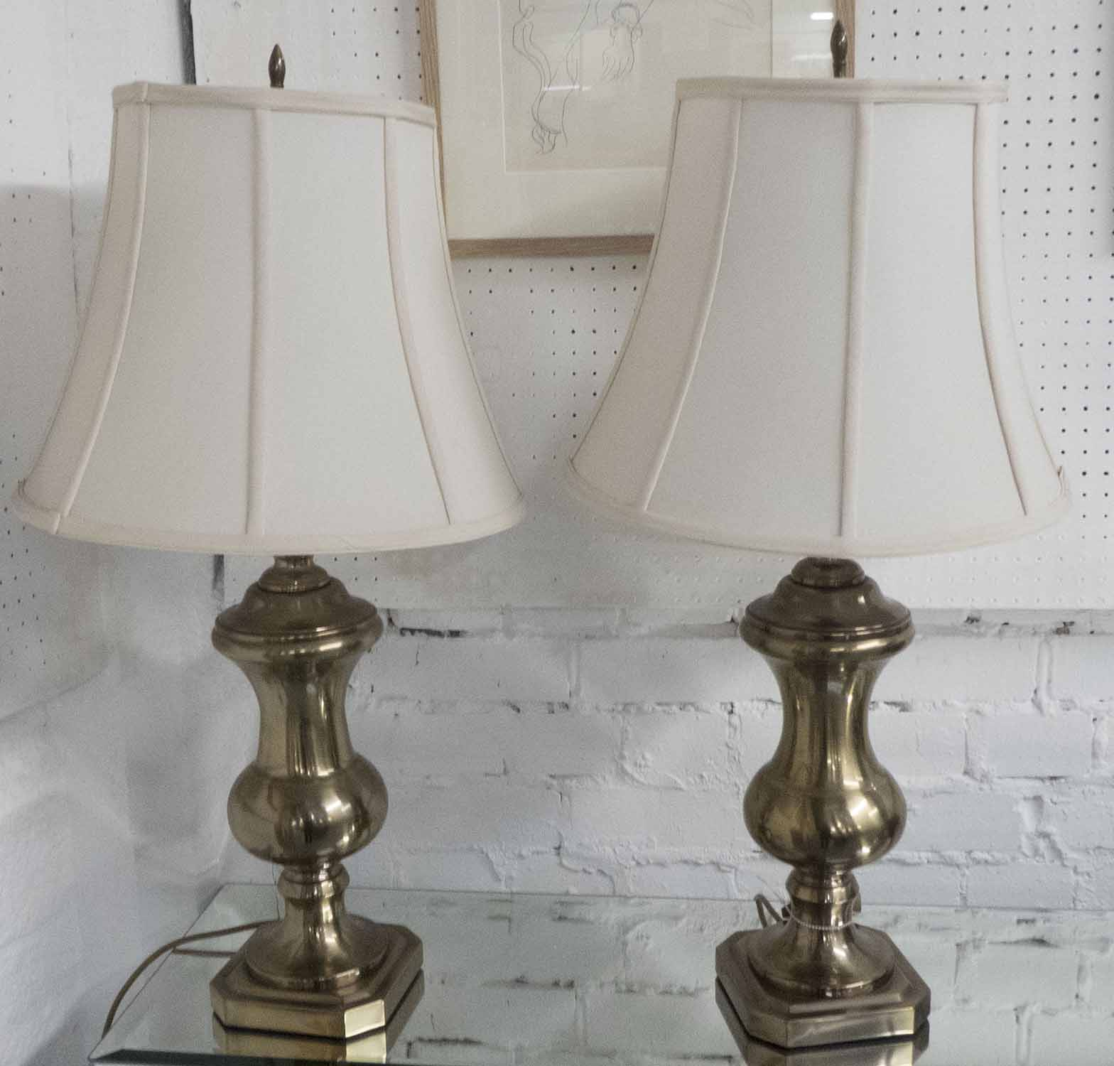 Lot 40 - TABLE LAMPS, a pair, metal urn shapes, overall each 77cm H, including shades.