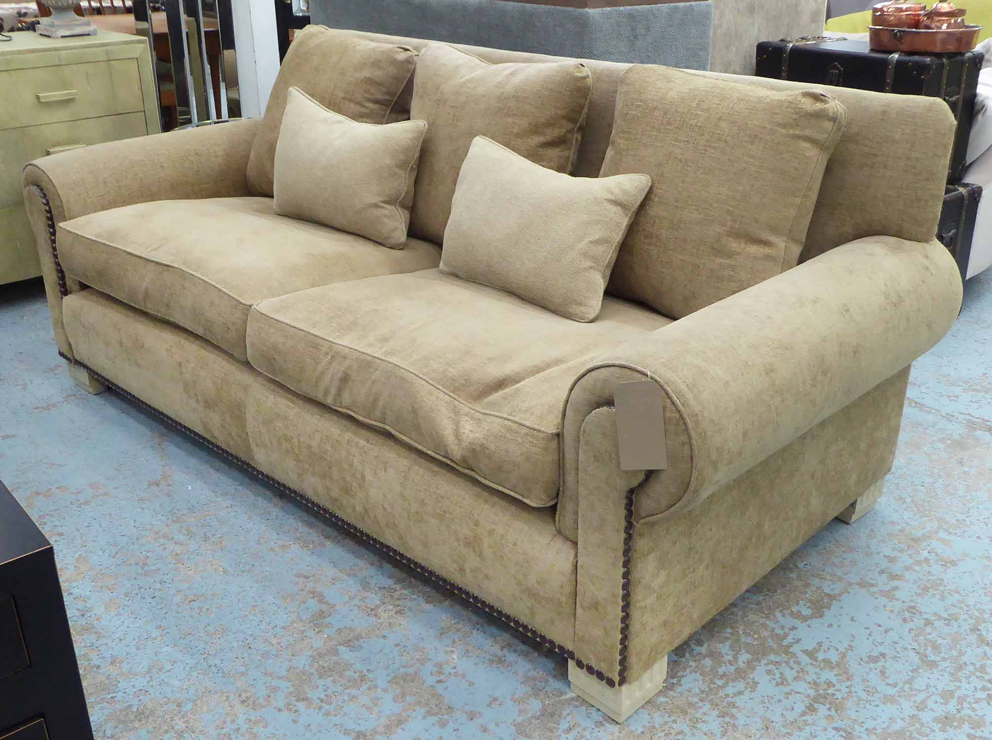 Lot 1 - SOFA, contemporary design, feather filled, with studded detail, 220cm W approx.